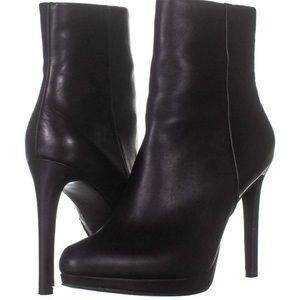 Nine West black leather stiletto booties